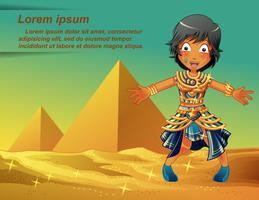 Egyptians character on Pyramids background.