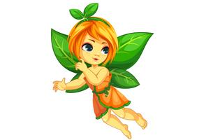 Cute little orange fairy flying vector