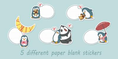 5 different paper blank stickers.