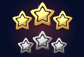 Golden three rating star icon