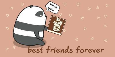 panda manque ses amis en style cartoon.