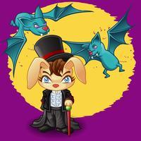 Coniglio e pipistrelli in stile cartoon.
