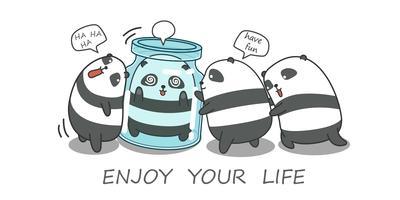 5 panda stanno giocando insieme.