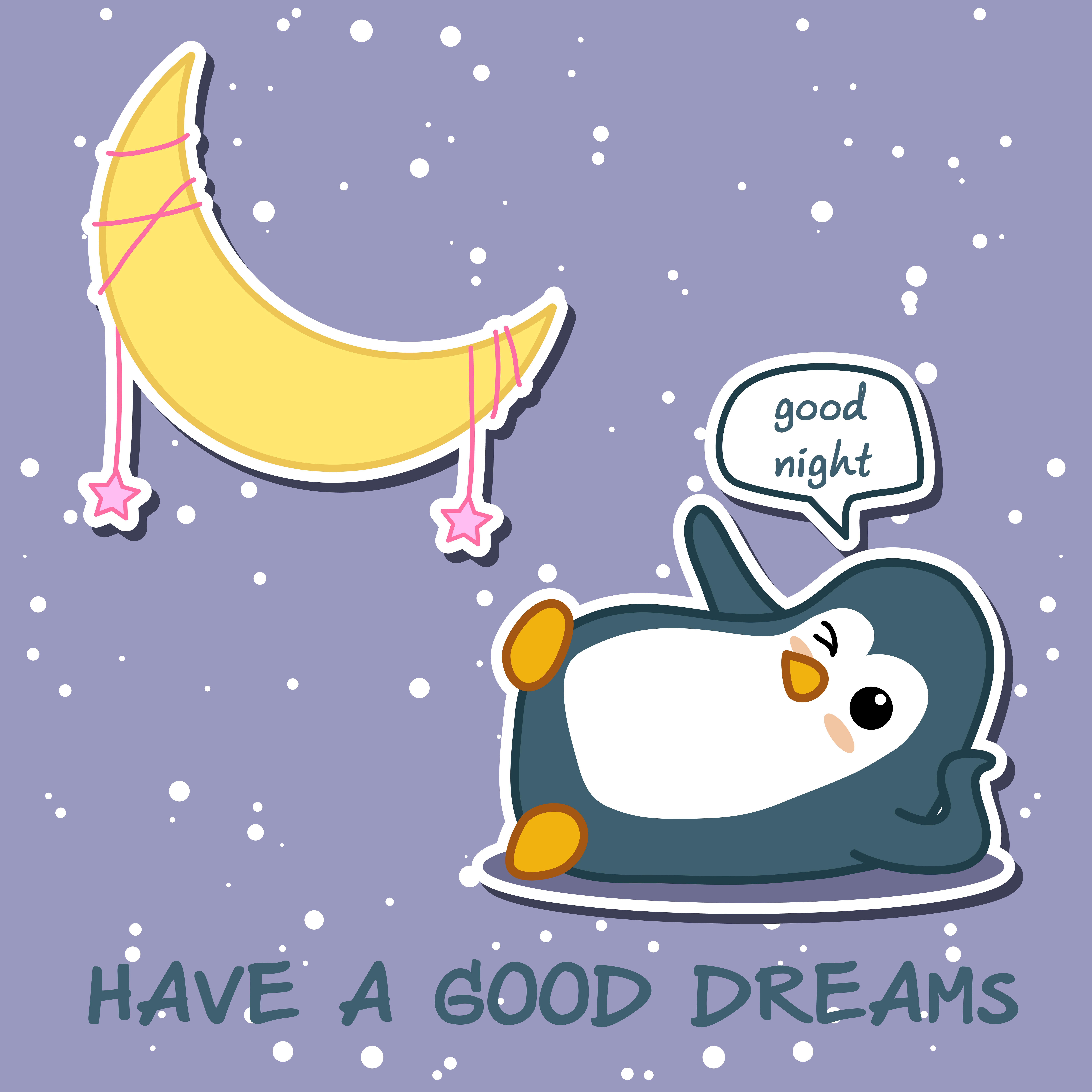 Penguin Dice Buona Notte Con La Luna Scarica Immagini