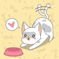 Fütterung der Katze im Cartoon-Stil.