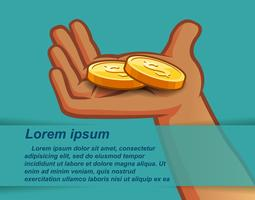 2 golden coins in hand on Blue green background.