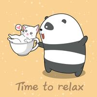 Panda and cat in time to relax.