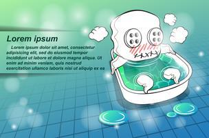 El personaje de la mascota está tomando un baño.