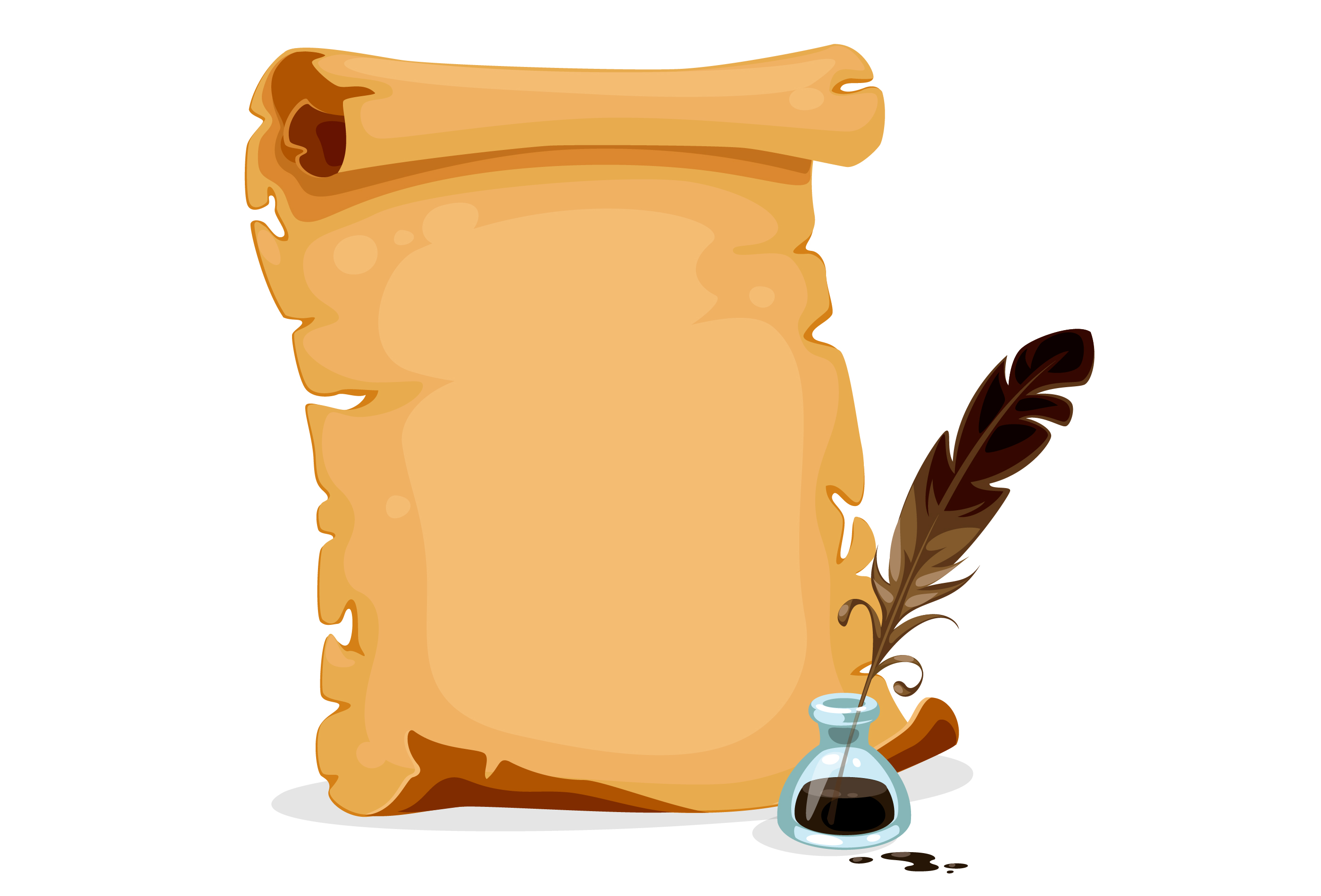 Old Scroll Paper With Ink Bottle And Feather Download Free Vectors Clipart Graphics Vector Art