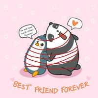 Penguin and panda are friend each other.