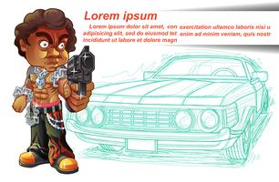 Thug character is carrying gun and car outline background.