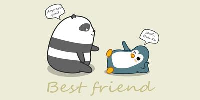 Panda and penguin are talking.