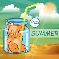 Pequeño gato dentro de la botella en el verano.