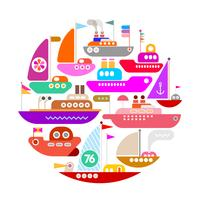 Ships and Yachts round shape vector isolated