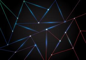 Abstract technology polygonal pattern and black triangles laser lines with lighting on dark background.