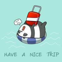 Panda on lifebuoy in the sea.