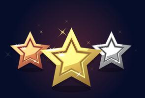 Calificación de icono de estrellas de plata bronce dorado aislado