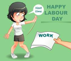 Happy labour day in cartoon style.