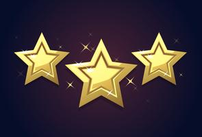 Golden three star icon rating isolated