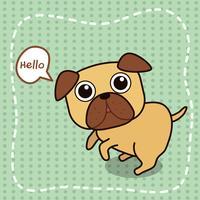 Pug hond zegt hallo.