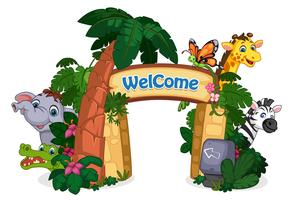beautiful zoo entrance vector illustration