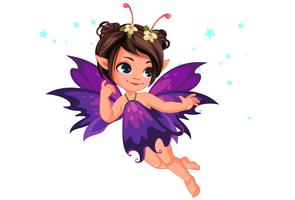 Beautiful little flower fairy flying