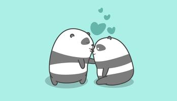 Panda kisses panda in cartoon style.