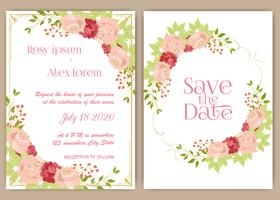 Wedding invitation card Floral hand drawn frame .