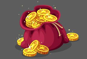 Bag of gold coins vector illustration