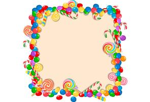 colorful candy frame on white background vector