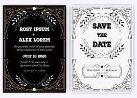 Tarjeta de invitación de boda Marco dibujado a mano floral.