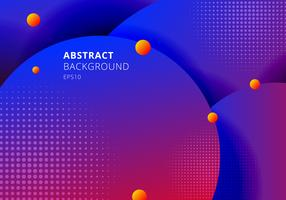 Abstract 3D liquid circles blue and red vibrant color background with halftones