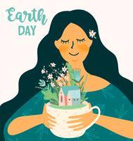 Día de la Tierra. Plantilla de vectores para diferentes usos. Elemento de diseño.