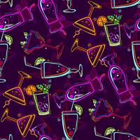 Seamless pattern with cocktails.