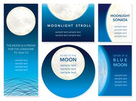Set of five vector greeting cards of the full moon night.