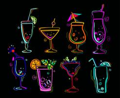 Set of neon cocktails. vector