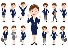 Businesswoman in different poses isolated on white background.