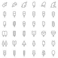 Ice pop vector icon set, lijnstijl