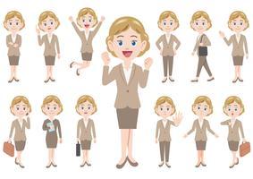 Affärskvinna i olika poses isolerad på vit bakgrund.
