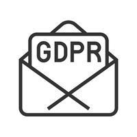 GDPR Icono de regulación de protección de datos general, estilo de línea