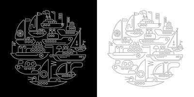 Ships and Yachts round shape line art designs
