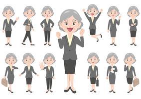 Geschäftsfrau in den verschiedenen Haltungen lokalisiert auf weißem Hintergrund.
