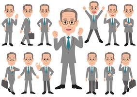 Businessman in different poses isolated on white background.