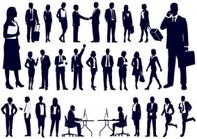 Set of business people in action silhouettes.