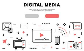 Digital media flat line banner and landing page. Illustration for website development