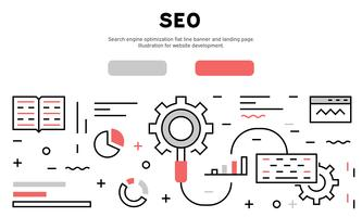 Search engine optimization flat line banner and landing page. Illustration for website development