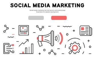 Sociale media die vlakke lijnbanner en landende pagina op de markt brengen. Illustratie voor website-ontwikkeling