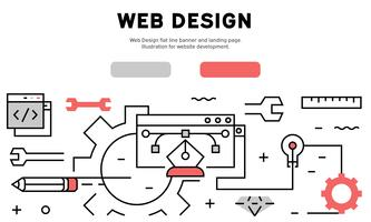Web Design flat line banner and landing page. Illustration for website development