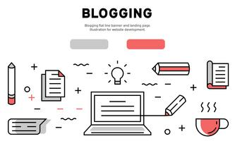 Blogging flat line banner and landing page. Illustration for website development