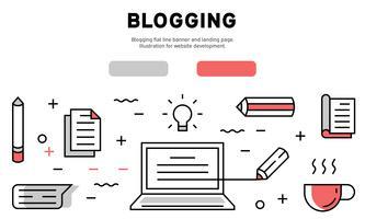 Blogging flat line banner and landing page. Illustration for website development